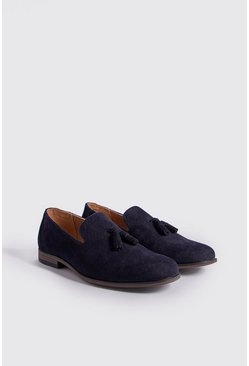 Mens Navy Faux Suede Loafer Tassel Loafer