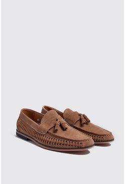 Sand Faux Suede Weave Tassel Loafer
