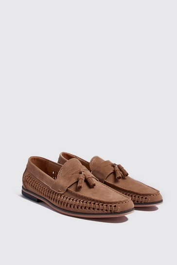 Mens Sand Faux Suede Weave Tassel Loafer