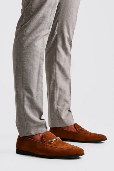 Mens Tan Faux Suede Metal Snaffle Loafer