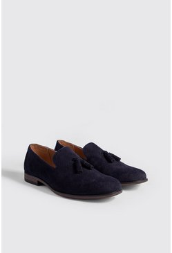 Embossed Weave Faux Suede Tassel Loafer, Navy