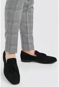 Black Embossed Weave Faux Suede Tassel Loafer