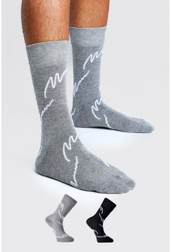Mens Black 2PK All Over MAN Script Socks