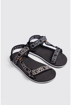 Mens Black MAN Branded Webbing Strap Sandal