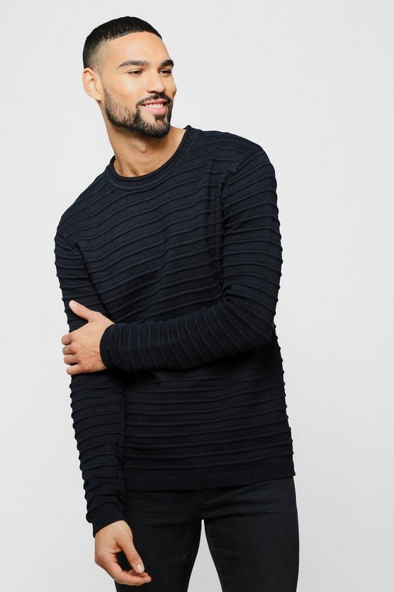Mens Black Roll Neck Jumper With Rib Detail
