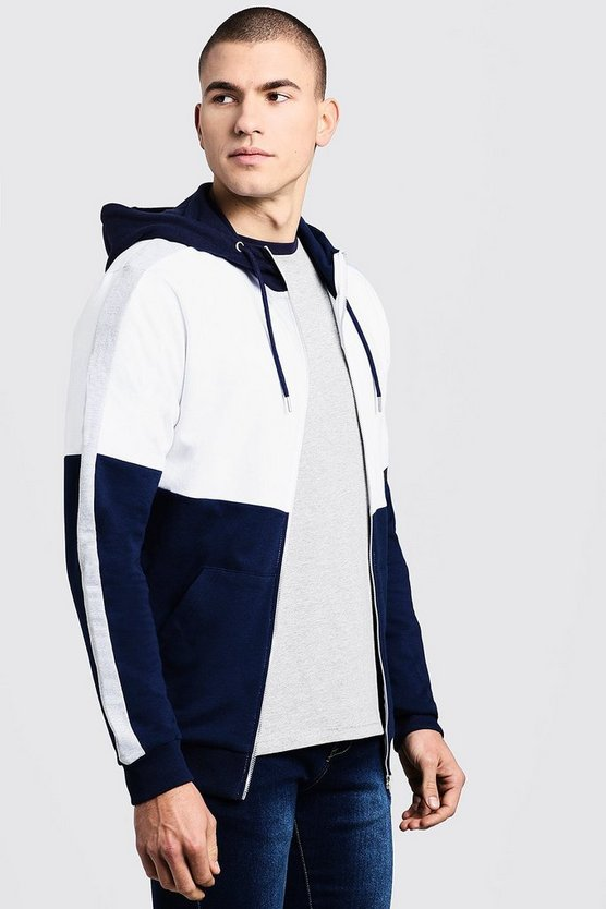 Mens Colour Block Zip Through Hoodie