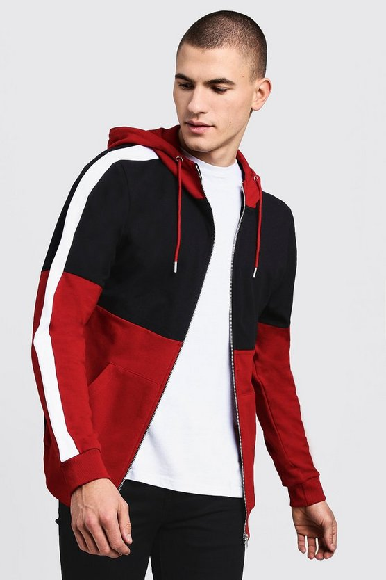 Colour Block Zip Through Hoodie