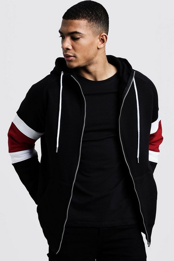 Colour Block Sleeve Detail Zip Through Hoodie