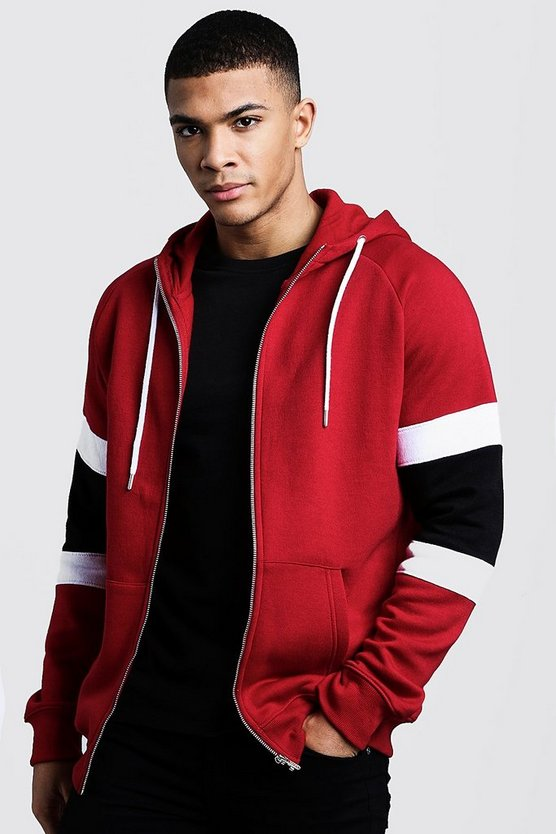 Mens Red Colour Block Sleeve Detail Zip Through Hoodie