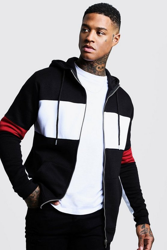 Mens Black Chest Panel Colour Block Zip Through Hoodie