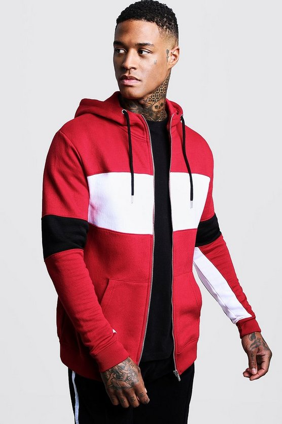 Mens Red Chest Panel Colour Block Zip Through Hoodie