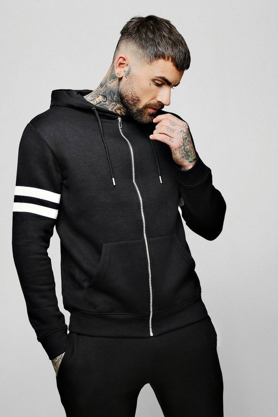 Mens Black Contrast Panel Zip Through Hoodie