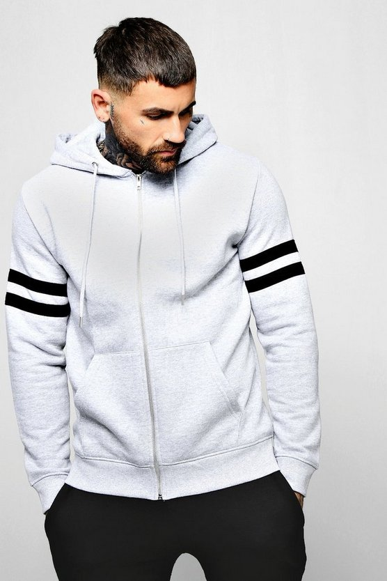 Mens Grey Contrast Panel Zip Through Hoodie