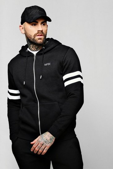 Black Original MAN Logo Contrast Panel Zip Through Hoodie