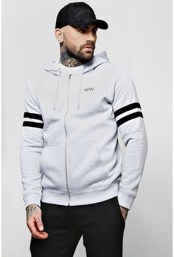 Mens Grey Original MAN Logo Contrast Panel Zip Through Hoodie