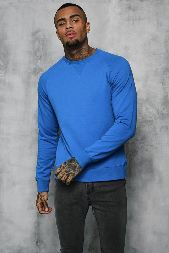 Mens Blue Basic Lightweight Crew Neck Sweater