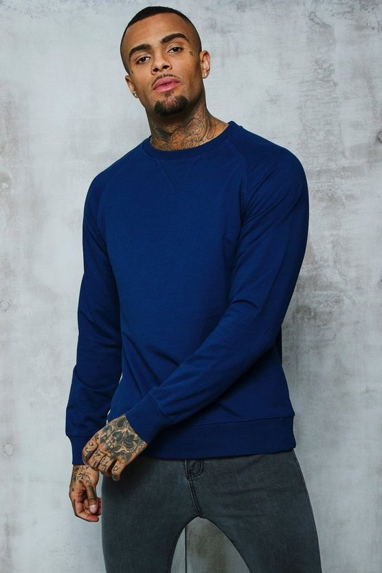 Mens Indigo Basic Lightweight Crew Neck Sweater