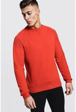 Mens Orange Basic Lightweight Crew Neck Sweater