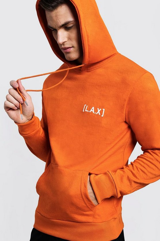 Mens Orange Over The Head LAX Print Hoodie