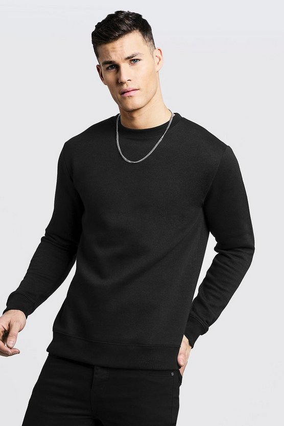 Mens Black Basic Crew Neck Fleece Sweatshirt