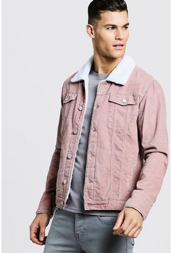 Mens Dusky pink Cord Jacket With Borg Collar