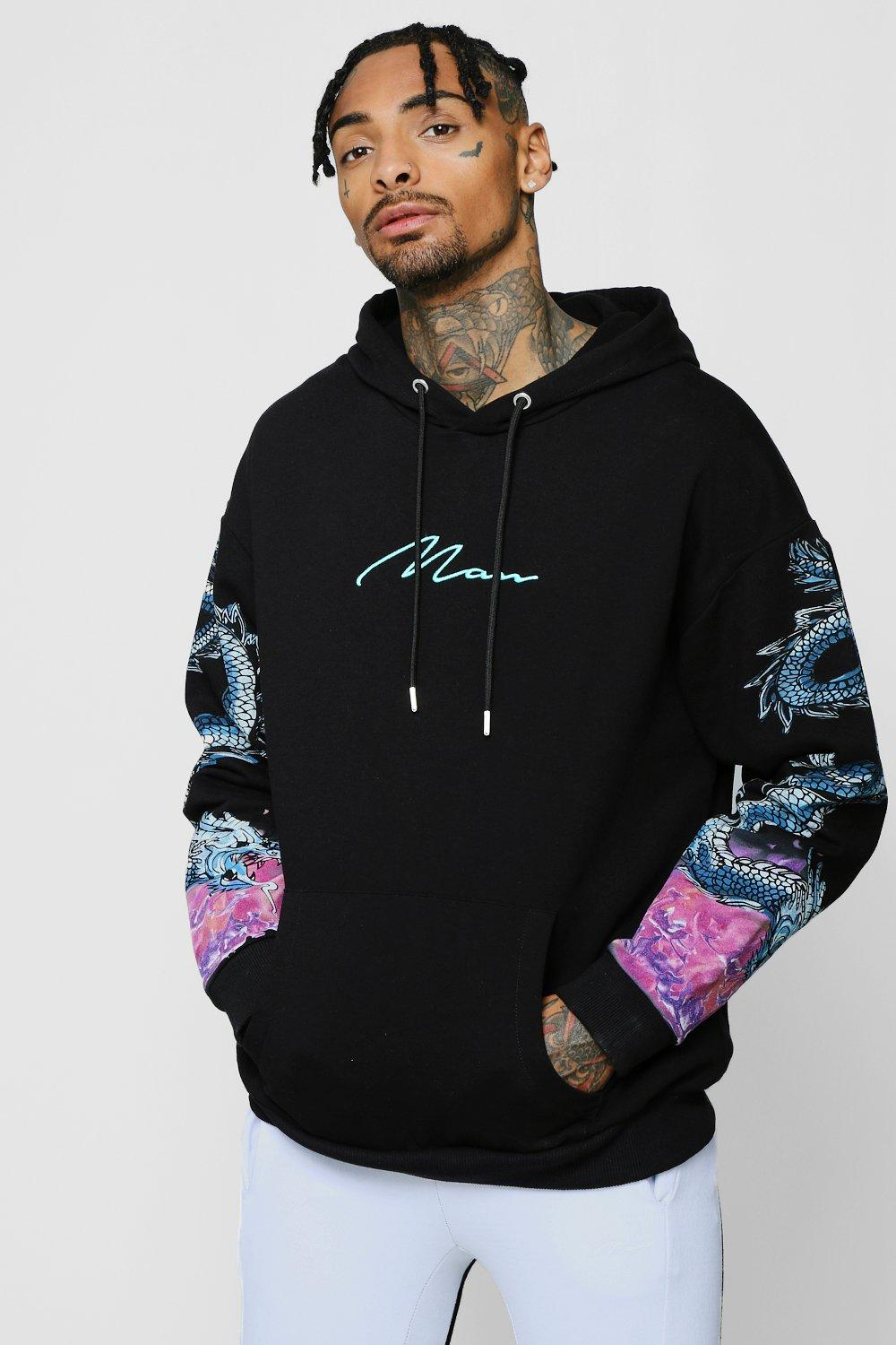 MAN Embroidered Hoodie With Dragon Sleeve Print
