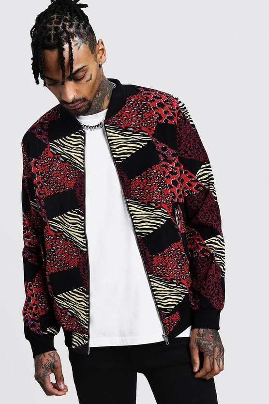 Animal Printed Bomber Jacket