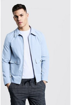 Mens Powder blue Smart Utility Zip Through Harrington
