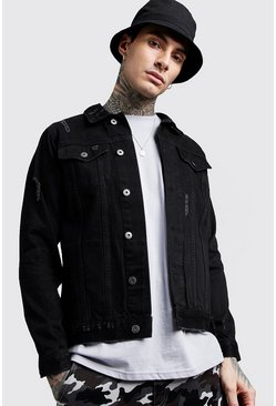 Mens Black Denim Western Jacket