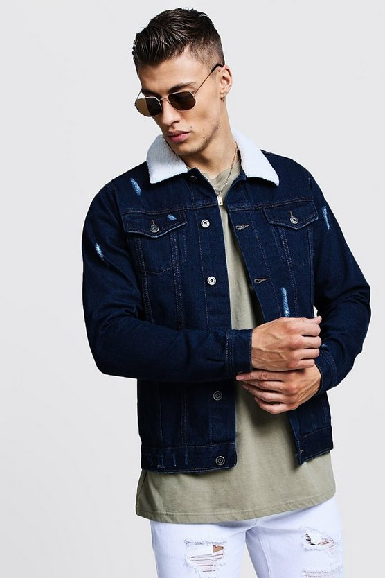 Indigo Borg Collar Denim Jacket