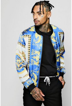 Mens Blue Scarf Print Sateen Bomber