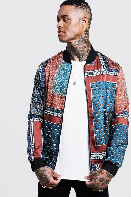 Scarf Print Sateen Bomber