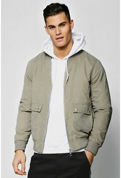 Mens Khaki Padded Utility Bomber in Peached Finish
