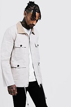 Cord Collar Utility Coach Jacket
