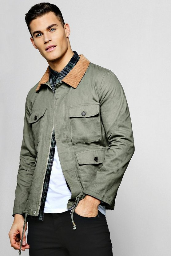Mens Khaki Cord Collar Utility Coach Jacket