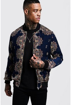 Mens Navy Paisley Sateen Bomber Jacket