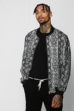 Snake Print Bomber Jacket
