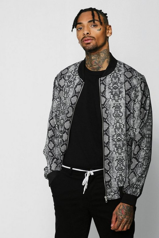 Mens Grey Snake Print Bomber Jacket
