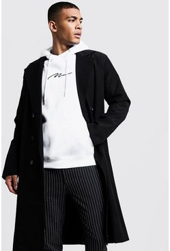 Mens Black Longline Lightweight Trench Coat