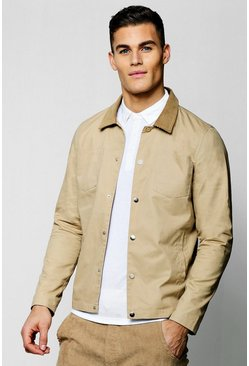 Mens Camel Cord Collar Twill Harrington