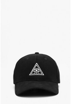 Herr Black Faux Suede Embroidered Cap