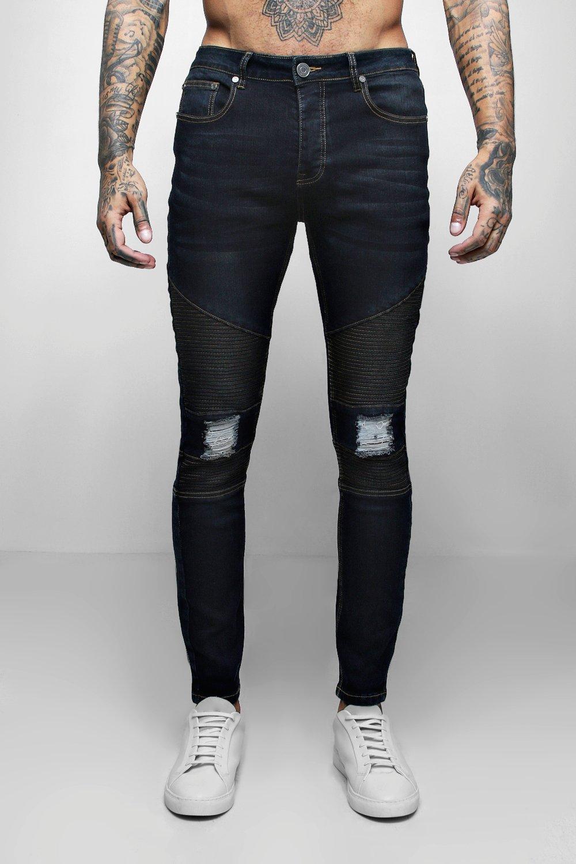 Indigo Wash Biker Detail Skinny Fit Jeans