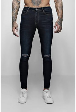 Mens Indigo Super Skinny Raw Edge Distressed Jeans