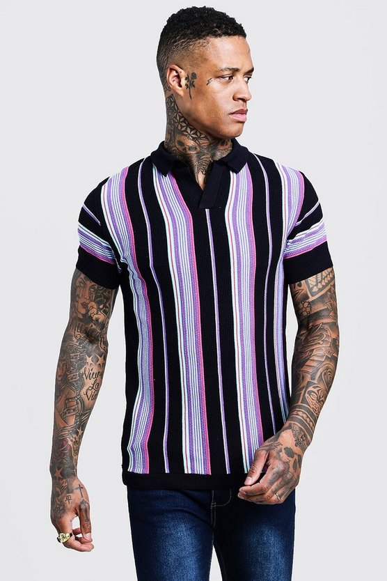 Mens Navy Short Sleeve Striped Knitted Polo