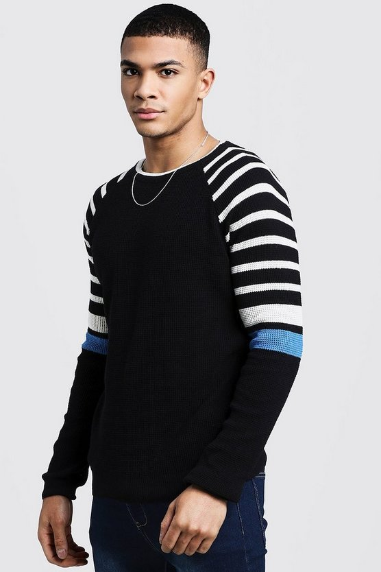 Mens Black Arm Stripe Knitted Long Sleeve Sweater