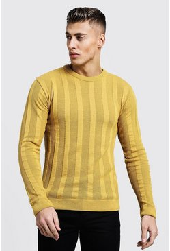 Mens Mustard Lightweight Ladder Knit Jumper