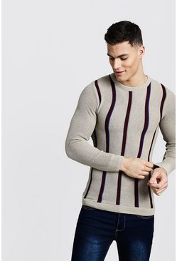 Mens Taupe Muscle Fit Stripe Knitted Jumper