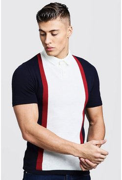 Navy Short Sleeve Colour Block Knitted Polo
