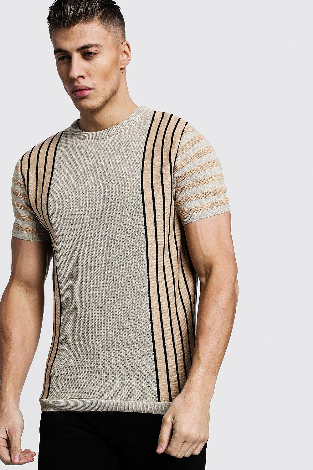 Vertical Stripe Contrast Knitted T-Shirt