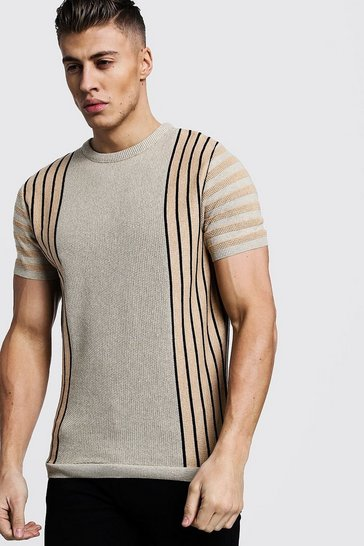 Mens Taupe Vertical Stripe Contrast Knitted T-Shirt